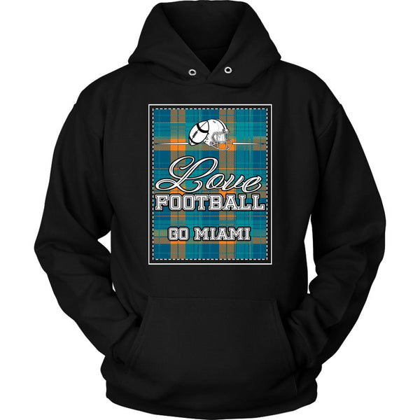 Love Football Go Miami Fan Gifts Ideas Checkered Plaid Cool Soft Cozy Hoodie-NeatFind.net