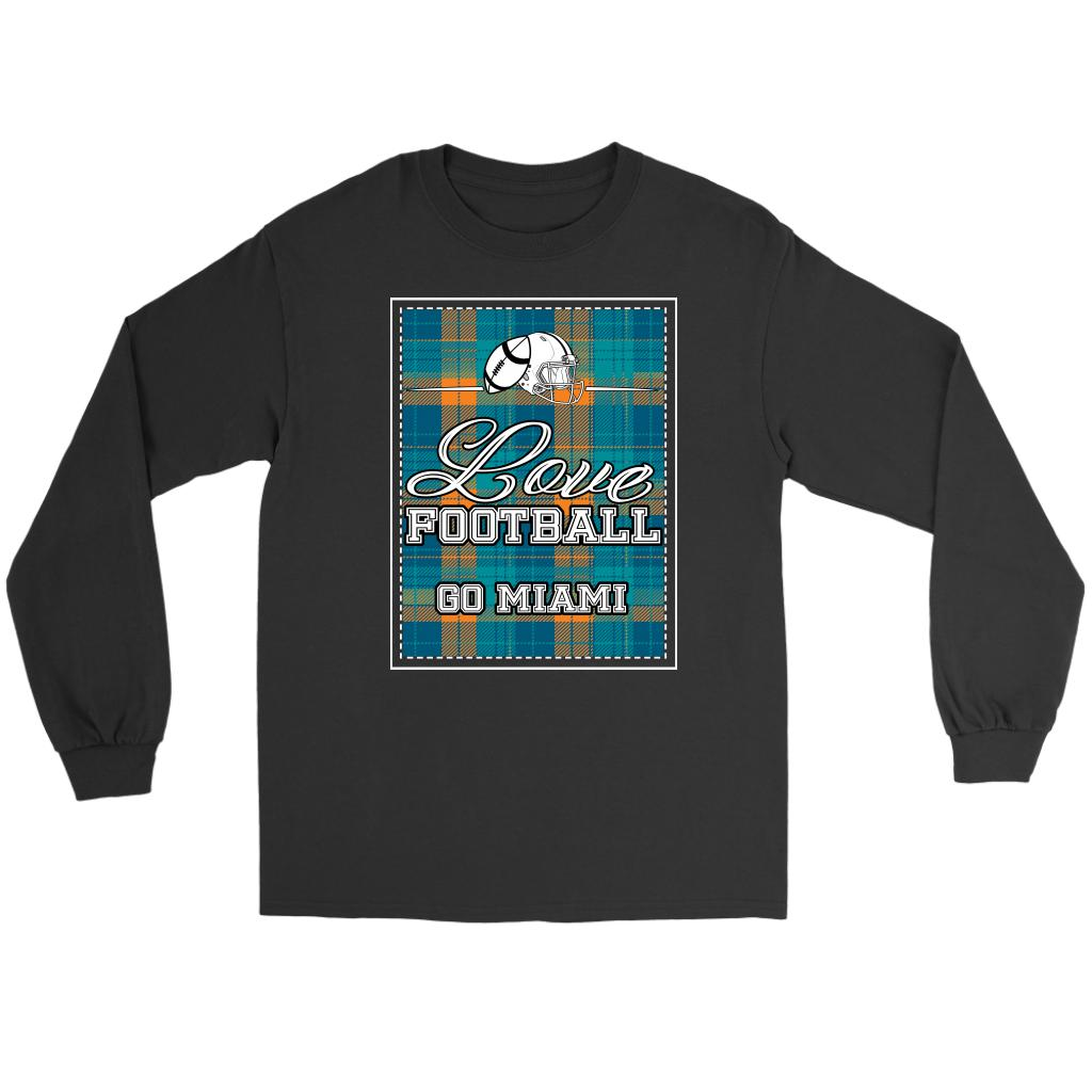 Love Football Go Miami Fan Gifts Ideas Checkered Plaid Cool Soft Long Sleeve-NeatFind.net