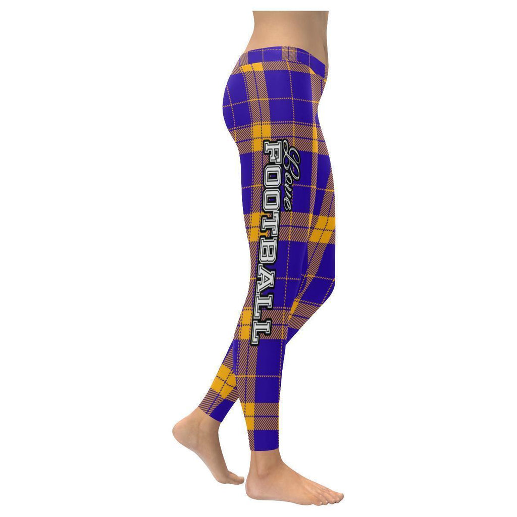 Love Football Go Minnesota Fan Plaid Checkered Soft UPF40+ Womens Leggings-NeatFind.net