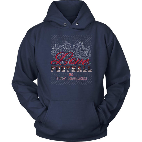 Love Football Go New England Fan Gift Idea Diamond Plate Cool Soft Cozy Hoodie-NeatFind.net