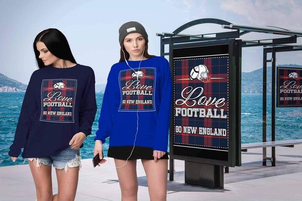 Love Football Go New England Fan Gifts Ideas Checkered Plaid Soft Cozy Sweater-NeatFind.net