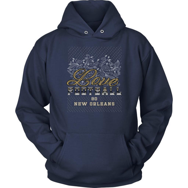Love Football Go New Orleans Fan Gift Idea Diamond Plate Cool Soft Cozy Hoodie-NeatFind.net