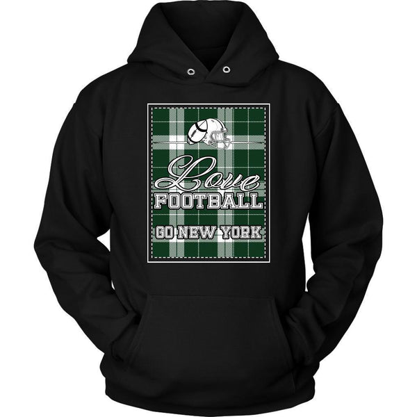 Love Football Go New York Fan Gifts Ideas Checkered Plaid Cool Soft Cozy Hoodie-NeatFind.net