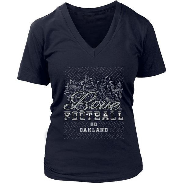 Love Football Go Oakland Fan Gifts Cute Diamond Plate Soft VNeck TShirt Women-NeatFind.net