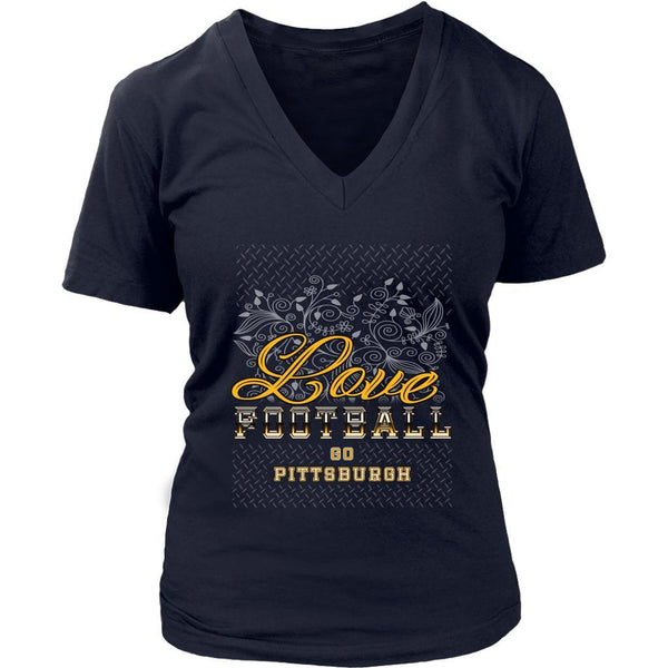 Love Football Go Pittsburgh Fan Gift Cute Diamond Plate Soft VNeck TShirt Women-NeatFind.net