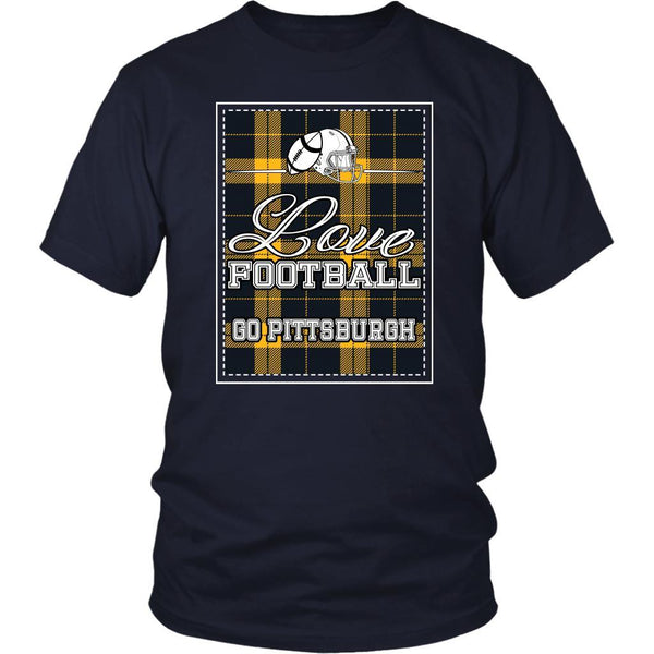 Love Football Go Pittsburgh Fan Gifts Checkered Plaid Awesome Cool Mens TShirts-NeatFind.net