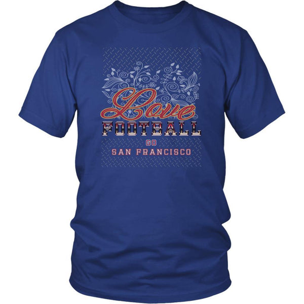 Love Football Go San Francisco Fan Gifts Diamond Plate Awesome Cool Mens TShirt-NeatFind.net