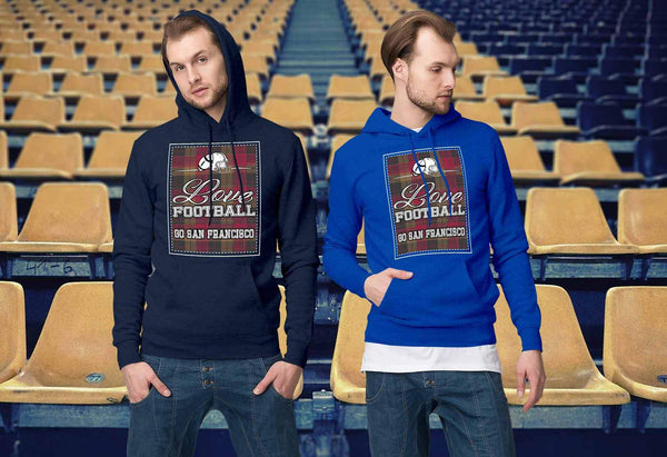Love Football Go San Francisco Fan Gifts Ideas Checkered Plaid Cool Soft Hoodie-NeatFind.net