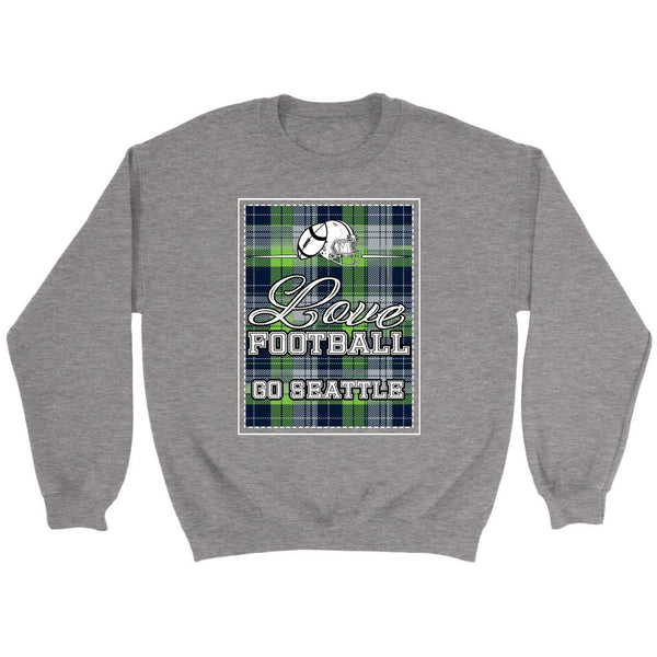 Love Football Go Seattle Fan Gifts Ideas Checkered Plaid Cool Soft Cozy Sweater-NeatFind.net