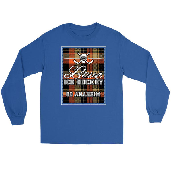 Love Hockey Go Anaheim Fan Gifts Checkered Plaid Cool Long Sleeve TShirt-NeatFind.net