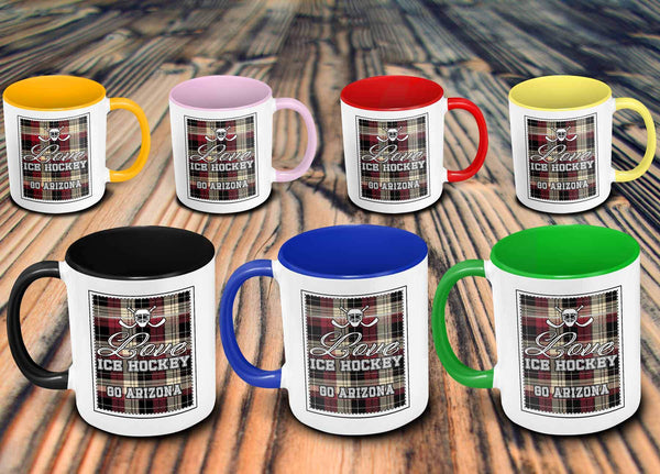 Love Hockey Go Arizona Fan Gifts Checkered Plaid Cool 11oz 7Colors Mug-NeatFind.net