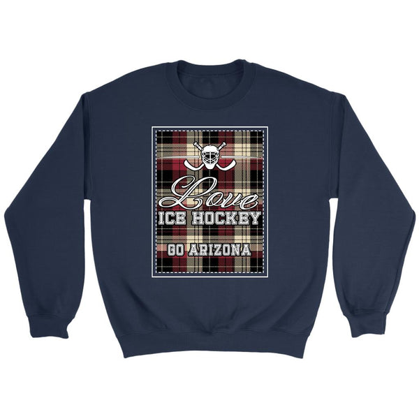 Love Hockey Go Arizona Fan Gifts Checkered Plaid Unisex Sweaters Sweatshirt-NeatFind.net