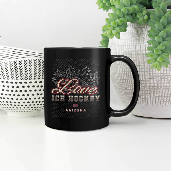 Love Hockey Go Arizona Fan Gifts Diamond Plate Cool Black 11oz Coffee Mug-NeatFind.net