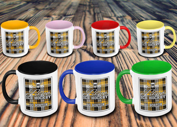 Love Hockey Go Boston Fan Gifts Checkered Plaid Cool 11oz 7Colors Mug-NeatFind.net