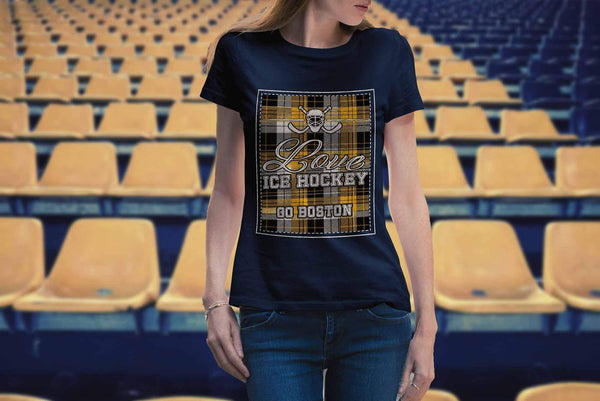 Love Hockey Go Boston Fan Gifts Checkered Plaid Cool T-Shirts For Women-NeatFind.net