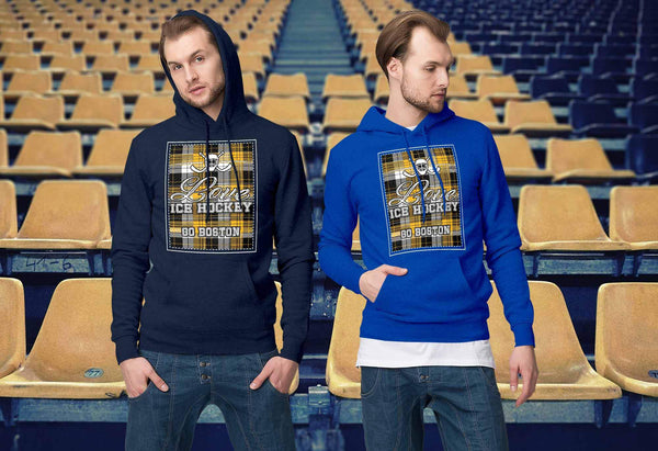 Love Hockey Go Boston Fan Gifts Checkered Plaid Cool Unisex Hoodie-NeatFind.net