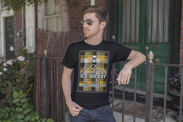 Love Hockey Go Boston Fan Gifts Checkered Plaid Cool Unisex TShirt Men-NeatFind.net