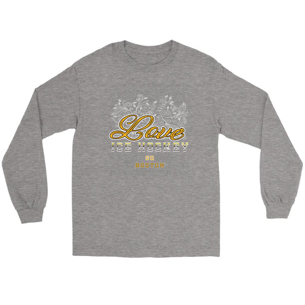 Love Hockey Go Boston Fan Gifts Diamond Plate Cool Long Sleeve TShirt-NeatFind.net