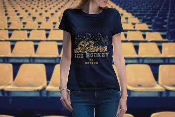 Love Hockey Go Boston Fan Gifts Diamond Plate Cool T-Shirts For Women-NeatFind.net