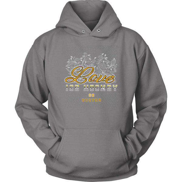 Love Hockey Go Boston Fan Gifts Diamond Plate Cool Unisex Hoodie-NeatFind.net