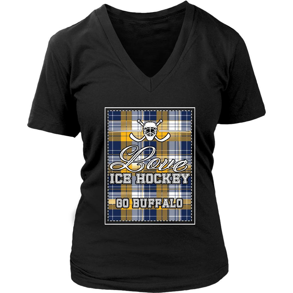 Love Hockey Go Buffalo Fan Gifts Checkered Plaid V-Neck T-Shirts For Women-NeatFind.net