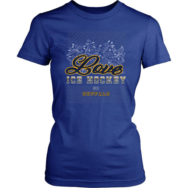 Love Hockey Go Buffalo Fan Gifts Diamond Plate Cool T-Shirts For Women-NeatFind.net