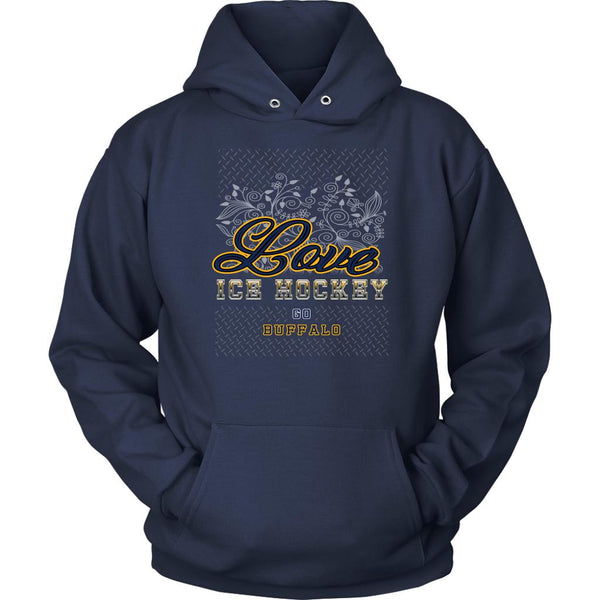 Love Hockey Go Buffalo Fan Gifts Diamond Plate Cool Unisex Hoodie-NeatFind.net