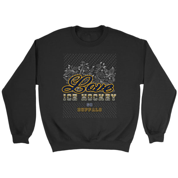 Love Hockey Go Buffalo Fan Gifts Diamond Plate Unisex Sweaters Sweatshirt-NeatFind.net