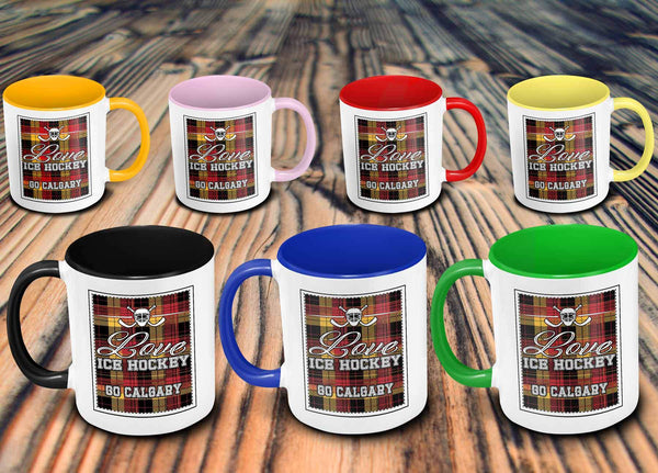 Love Hockey Go Calgary Fan Gifts Checkered Plaid Cool 11oz 7Colors Mug-NeatFind.net