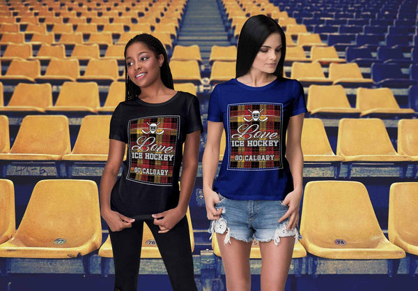 Love Hockey Go Calgary Fan Gifts Checkered Plaid Cool T-Shirts For Women-NeatFind.net