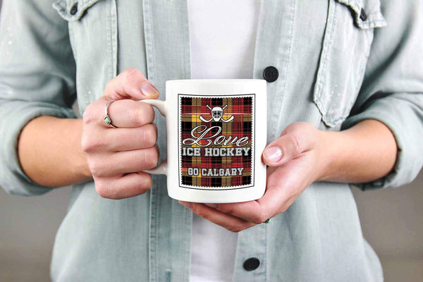 Love Hockey Go Calgary Fan Gifts Checkered Plaid Cool White 11oz Coffee Mug-NeatFind.net