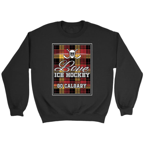 Love Hockey Go Calgary Fan Gifts Checkered Plaid Unisex Sweaters Sweatshirt-NeatFind.net