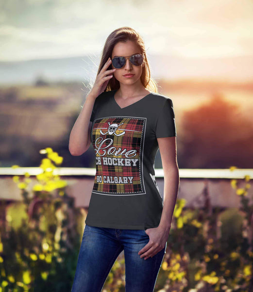 Love Hockey Go Calgary Fan Gifts Checkered Plaid V-Neck T-Shirts For Women-NeatFind.net