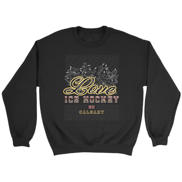 Love Hockey Go Calgary Fan Gifts Diamond Plate Unisex Sweaters Sweatshirt-NeatFind.net