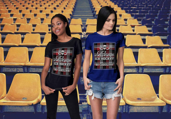 Love Hockey Go Carolina Fan Gifts Checkered Plaid Cool T-Shirts For Women-NeatFind.net