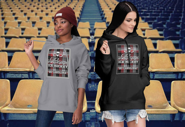 Love Hockey Go Carolina Fan Gifts Checkered Plaid Cool Unisex Hoodie-NeatFind.net