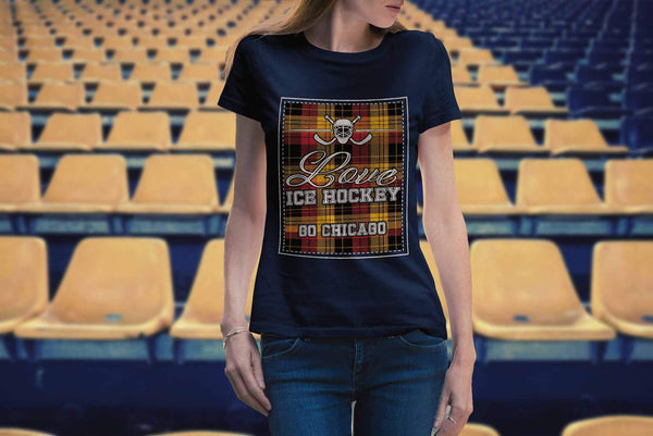 Love Hockey Go Chicago Fan Gifts Checkered Plaid Cool T-Shirts For Women-NeatFind.net