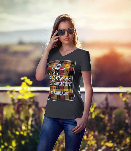 Love Hockey Go Chicago Fan Gifts Checkered Plaid V-Neck T-Shirts For Women-NeatFind.net