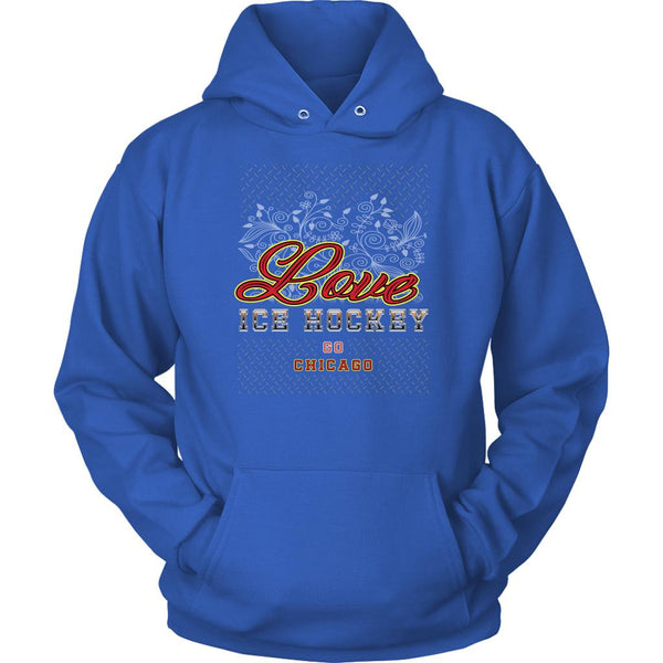 Love Hockey Go Chicago Fan Gifts Diamond Plate Cool Unisex Hoodie-NeatFind.net