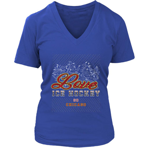 Love Hockey Go Chicago Fan Gifts Diamond Plate V-Neck T-Shirts For Women-NeatFind.net