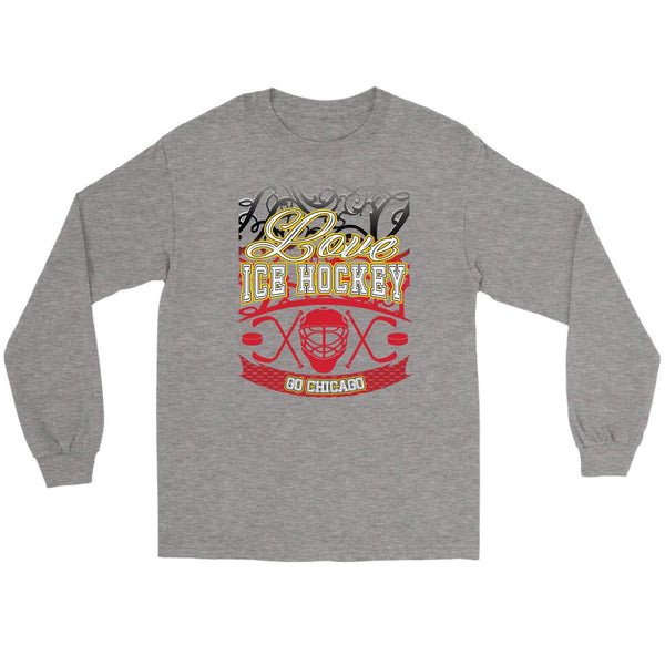 Love Hockey Go Chicago Fan Gifts Gradient Vine Cool Long Sleeve TShirt-NeatFind.net