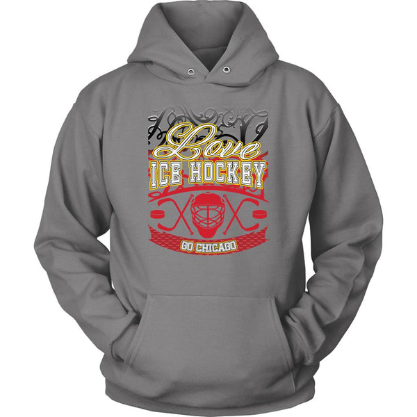 Love Hockey Go Chicago Fan Gifts Gradient Vine Cool Unisex Hoodie-NeatFind.net