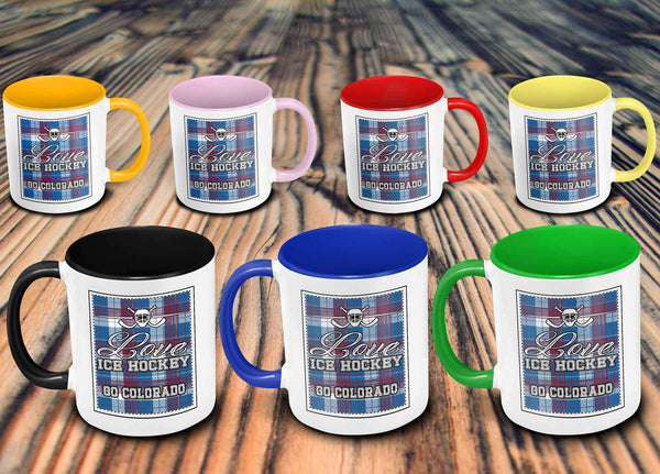 Love Hockey Go Colorado Fan Gifts Checkered Plaid Cool 11oz 7Colors Mug-NeatFind.net