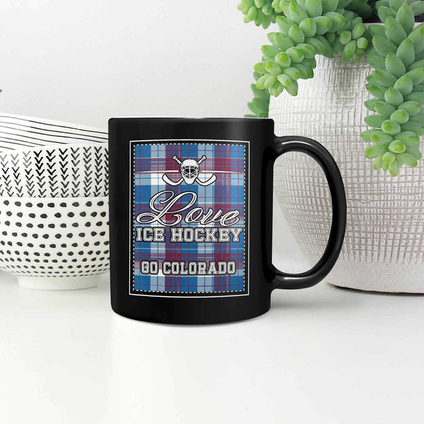 Love Hockey Go Colorado Fan Gifts Checkered Plaid Cool Black 11oz Coffee Mug-NeatFind.net