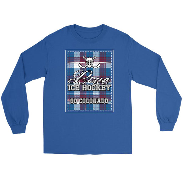 Love Hockey Go Colorado Fan Gifts Checkered Plaid Cool Long Sleeve TShirt-NeatFind.net