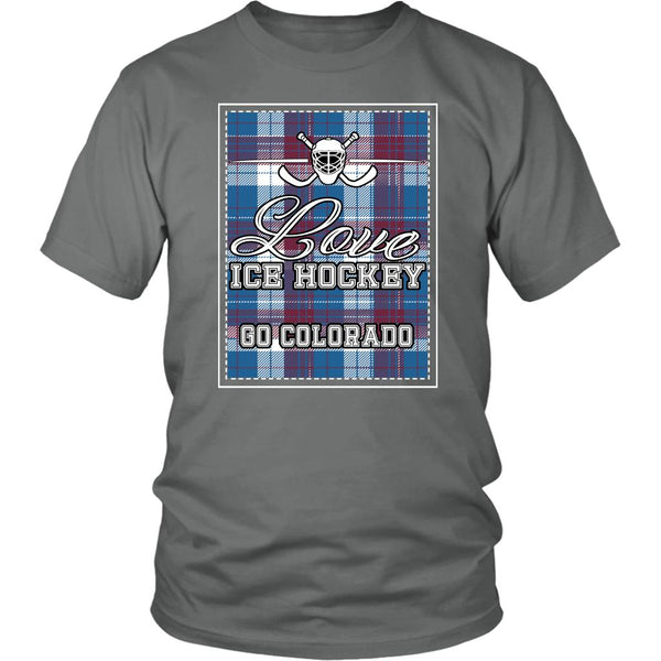 Love Hockey Go Colorado Fan Gifts Checkered Plaid Cool Unisex TShirt Men-NeatFind.net
