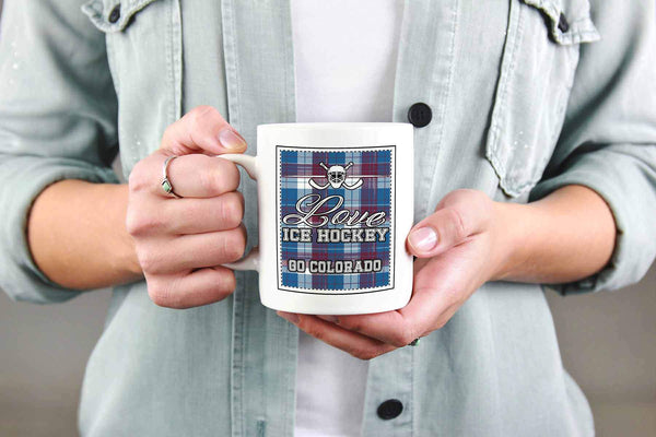 Love Hockey Go Colorado Fan Gifts Checkered Plaid Cool White 11oz Coffee Mug-NeatFind.net