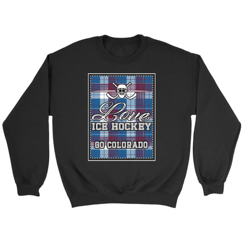 Love Hockey Go Colorado Fan Gifts Checkered Plaid Unisex Sweaters Sweatshirt-NeatFind.net