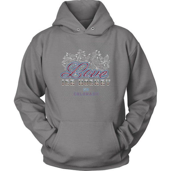 Love Hockey Go Colorado Fan Gifts Diamond Plate Cool Unisex Hoodie-NeatFind.net