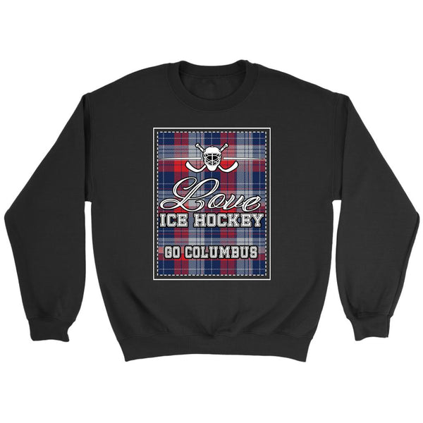 Love Hockey Go Columbus Fan Gifts Checkered Plaid Unisex Sweaters Sweatshirt-NeatFind.net
